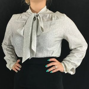 70s Silver Lurex Pussy Bow Blouse
